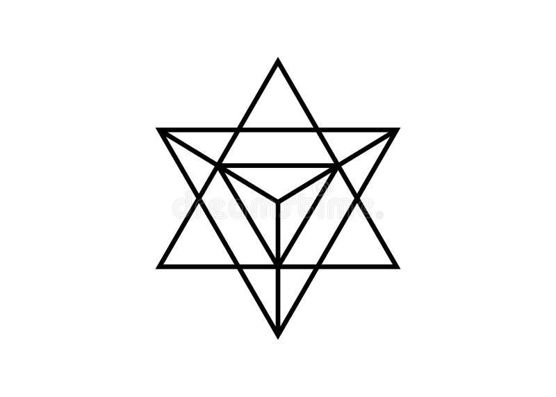 La geometria sacra linea sottile forma geometrica di merkaba del triangolo Simbolo esoterico o spirituale Isolato su priorit? bas royalty illustrazione gratis