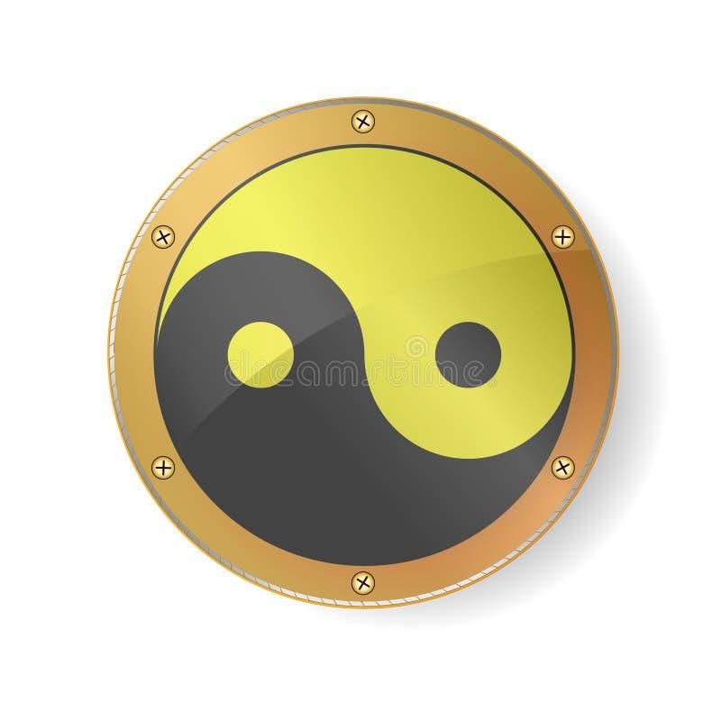 La geometria sacra Yin Yang Symbol nel telaio dorato e d'argento Isolato sui precedenti bianchi Illustrazione di vettore EPS10 illustrazione di stock