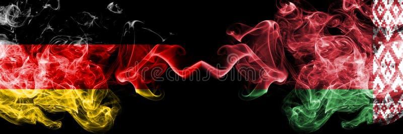 La Germania, Bielorussia, bandiere fumose variopinte spesse della concorrenza di vibrazione Giochi europei di qualificazioni di c illustrazione vettoriale