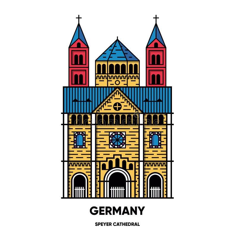 La Germania, cattedrale di Speyer, illustrazione di viaggio di vettore, icona piana fotografie stock libere da diritti
