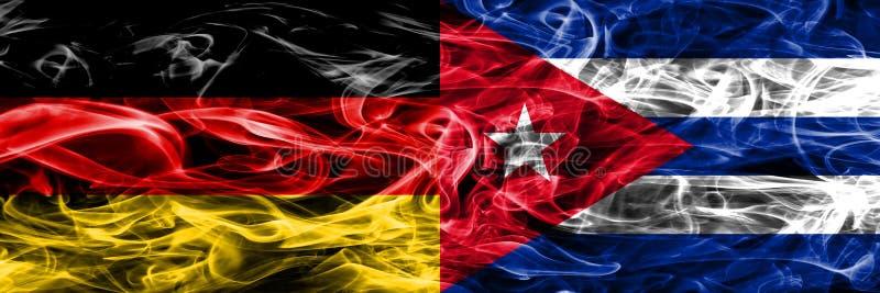 La Germania contro le bandiere del fumo di Cuba disposte parallelamente Tedesco e Cuba illustrazione di stock