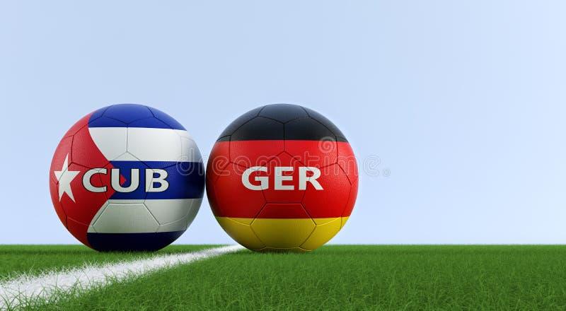 La Germania contro Partita di calcio di Cuba - palloni da calcio nei colori nazionali di Cuba e della Germania su un campo di cal illustrazione di stock