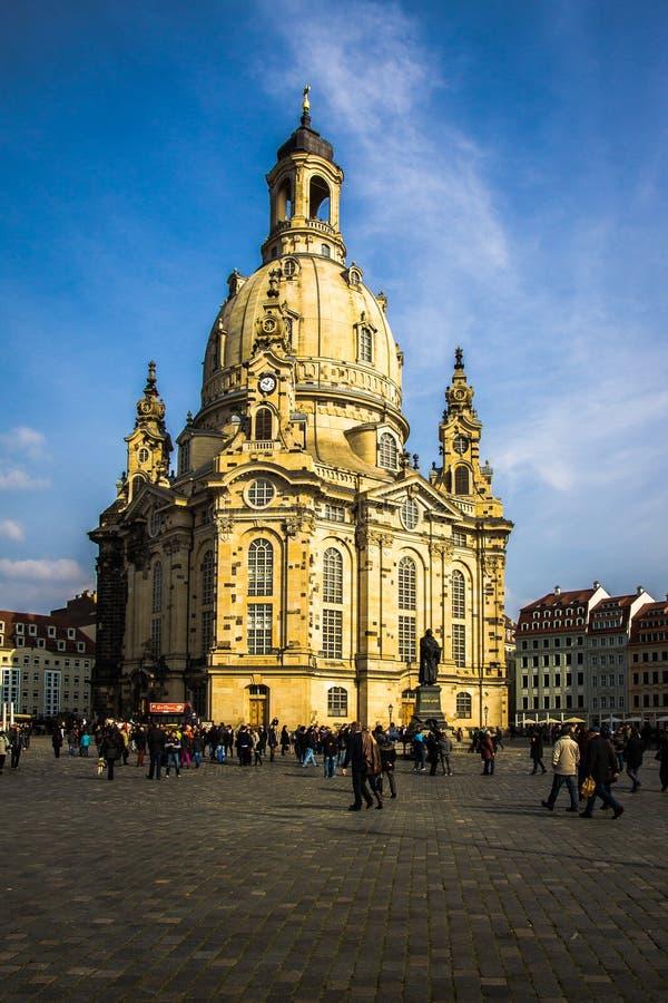 La Germania, Dresda, 02 03 Chiesa 2014 Frauenkirche di mattina immagine stock libera da diritti