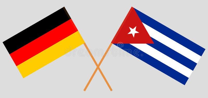 La Germania e Cuba Le bandiere tedesche e cubane Colori ufficiali Proporzione corretta Vettore illustrazione di stock