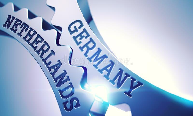 La Germania Paesi Bassi - meccanismo degli ingranaggi brillanti del dente del metallo 3d illustrazione di stock