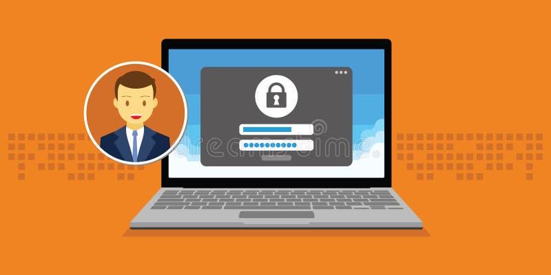 La gestión de acceso autoriza el sistema del formulario de inicio de sesión de la autentificación del software stock de ilustración