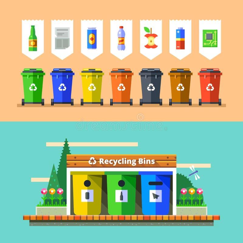 La gestión de desechos y recicla concepto Vector plano stock de ilustración