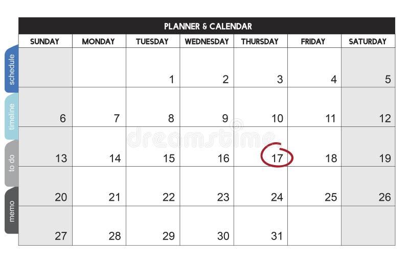 La gestión de la organización del planificador del calendario recuerda concepto stock de ilustración
