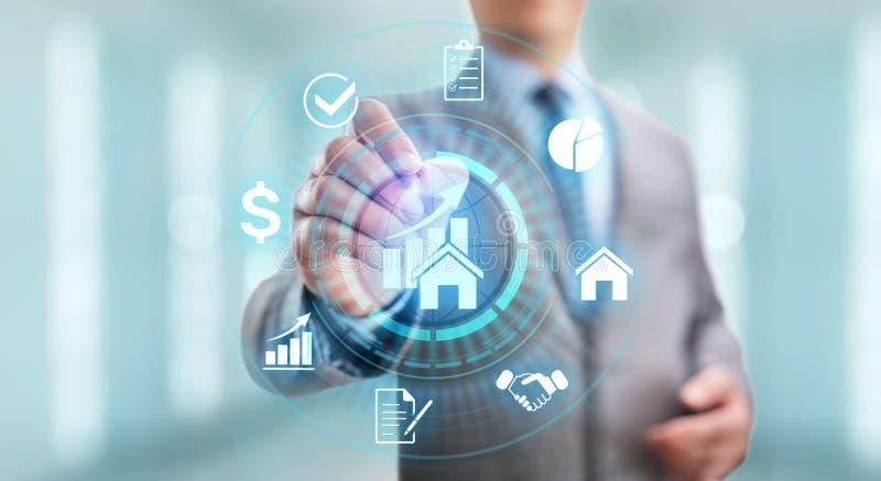 La gestión de la propiedad es la operación, el control, y el descuido de las propiedades inmobiliarias Concepto del asunto fotos de archivo libres de regalías