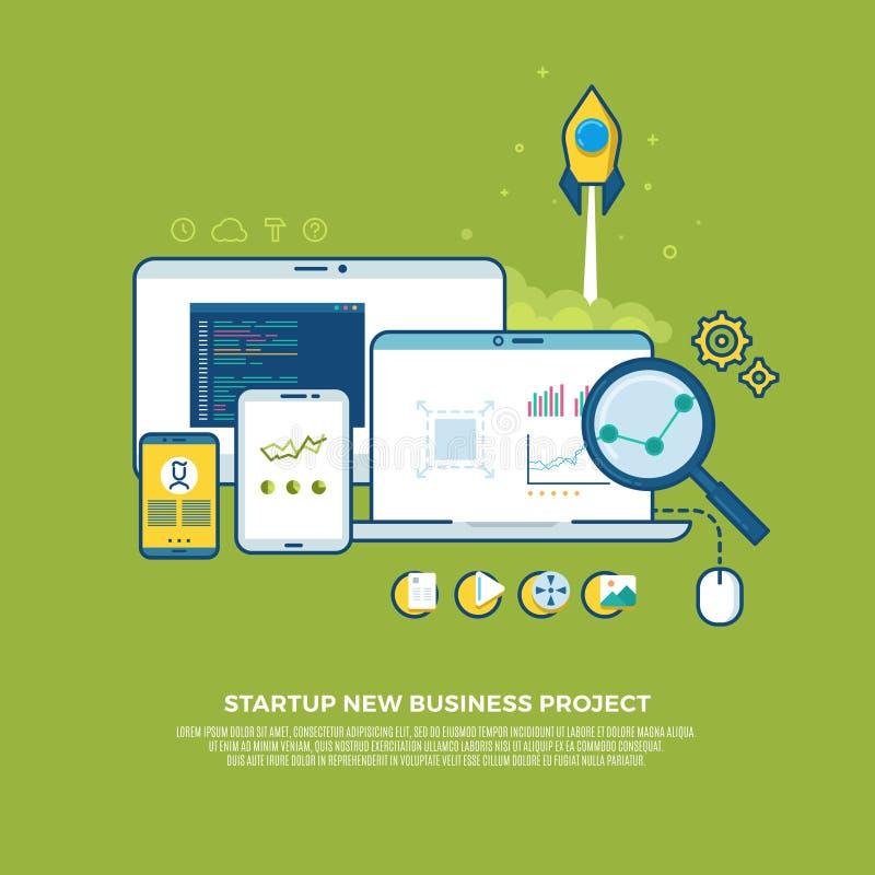 La gestión, estrategia, márketing digital, comienza para arriba el fondo del concepto del negocio del vector ilustración del vector