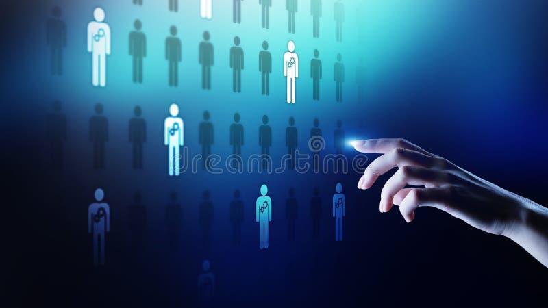 La gestion de ressources humaines d'heure, renforcement d'équipe, recrutement, talent a voulu, désir, concept d'affaires d'emploi illustration stock