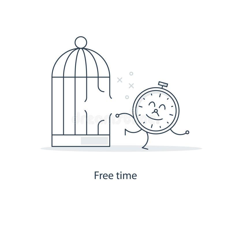 La gestion du temps et travaillent en indépendantes concept de travail illustration stock