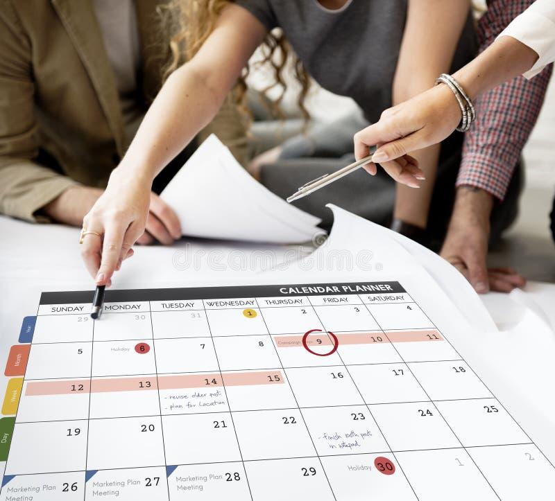 La gestione dell'organizzazione del pianificatore del calendario ricorda al concetto fotografie stock libere da diritti
