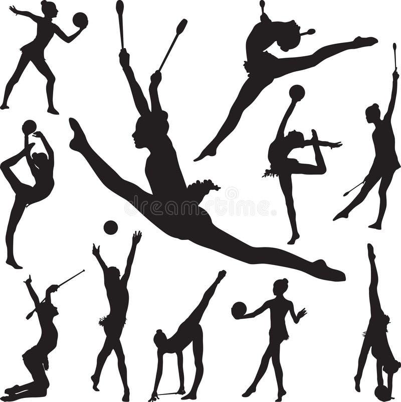 La gimnasia rítmica con la bola y los conos siluetean vector ilustración del vector