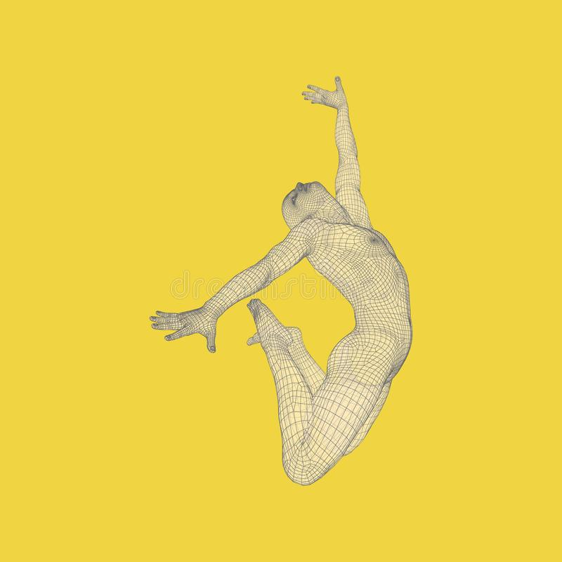 La ginnasta esegue un elemento artistico Ginnastica ritmica, acrobatica e aerobica illustrazione vettoriale