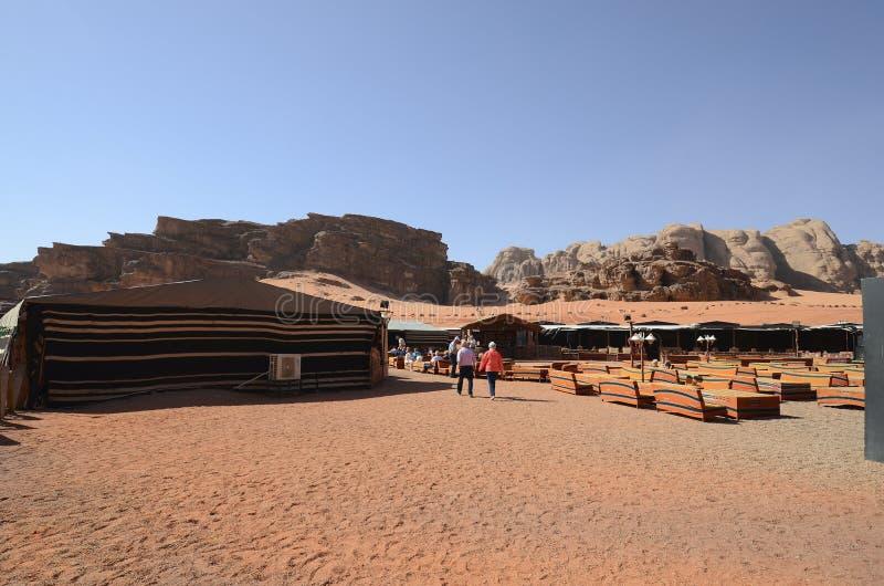 La Giordania, Wadi Rum, campo turistico immagine stock libera da diritti
