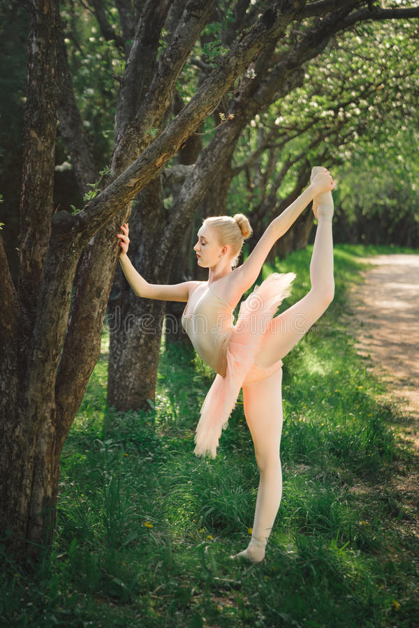 La giovane ballerina che allunga e si esercita prima del ballo all'aperto fotografie stock