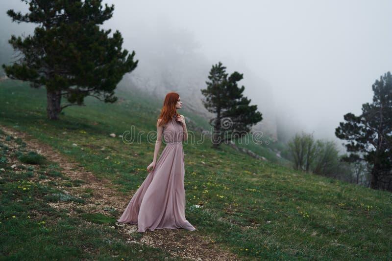 La giovane bella donna in un vestito rosa lungo sta stando nelle montagne vicino agli alberi fotografie stock