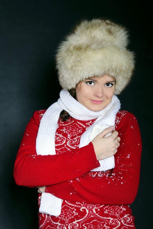 La giovane bella ragazza in una pelliccia Ca fotografie stock libere da diritti