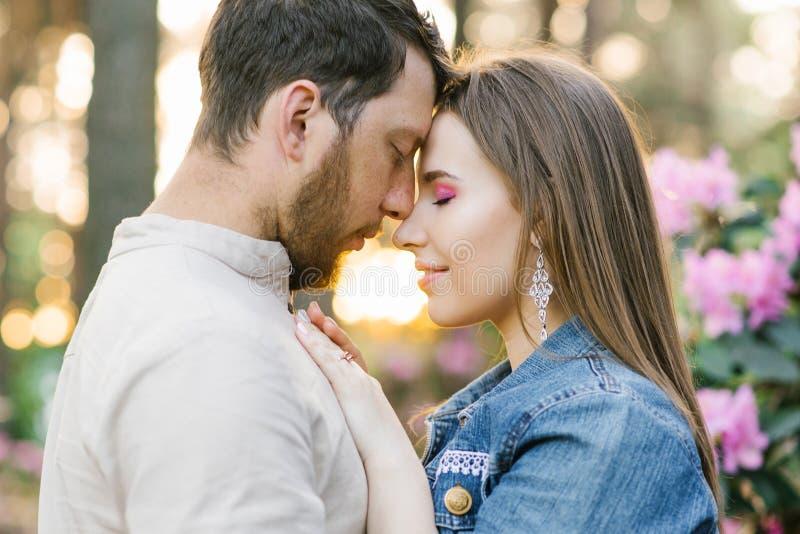 La giovane coppia sensuale gode del momento gentile piacevole caldo tenero di amore immagini stock