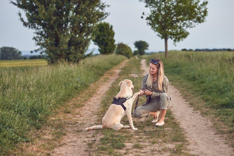 La giovane donna amorosa ha offerto una zampa dal suo cane di animale domestico immagini stock libere da diritti