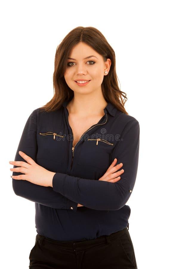 La giovane donna attraente in camicia blu isoalted sopra bianco fotografia stock