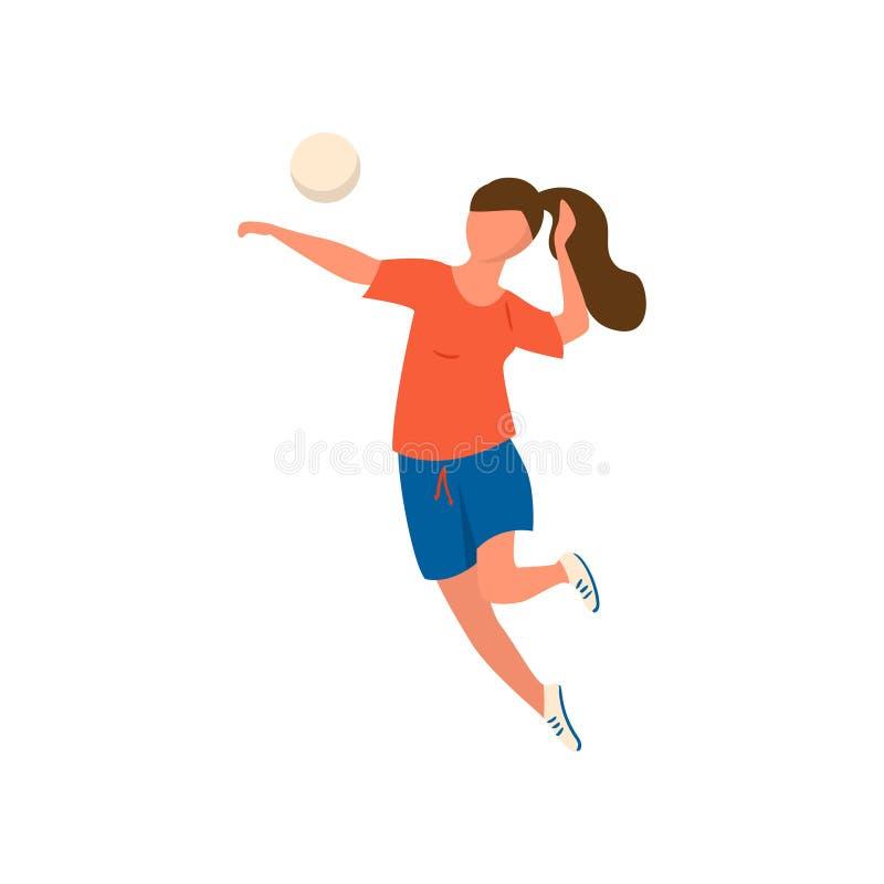 La giovane donna in camicia rossa e blu svegli mette illustrazione di stock