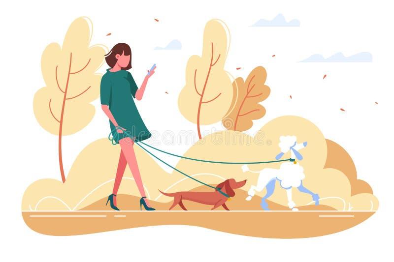 La giovane donna cammina con il cane attraverso il legno illustrazione vettoriale
