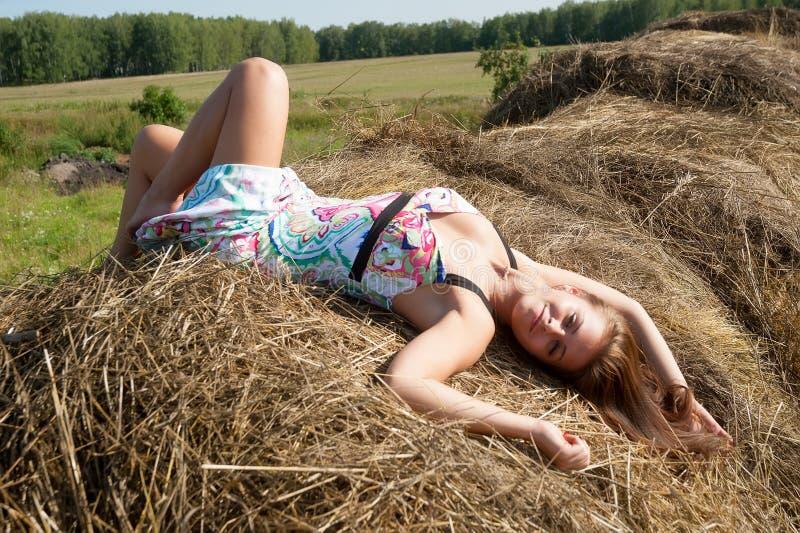 La giovane donna castana si siede su fieno immagine stock