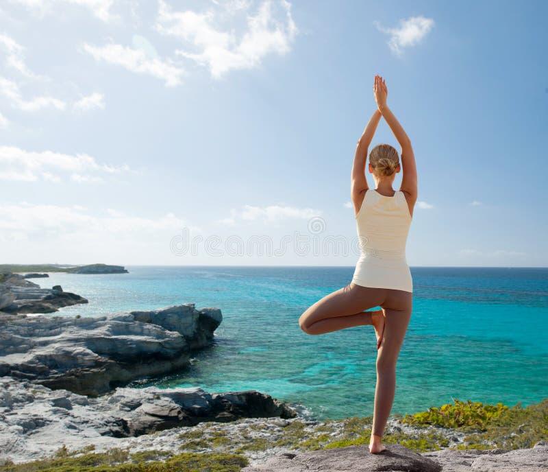 La giovane donna che fa l'yoga si esercita all'aperto immagine stock
