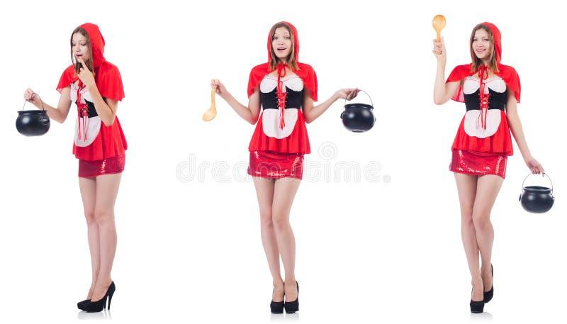 La giovane donna con il vaso e la siviera isolati su bianco fotografia stock libera da diritti