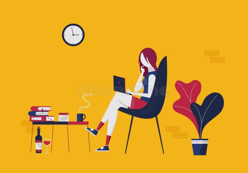 La giovane donna con un computer portatile comunica attraverso le reti sociali illustrazione vettoriale