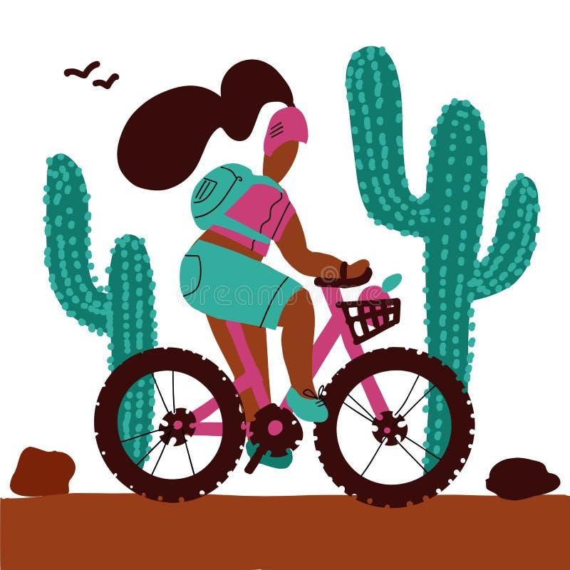 La giovane donna con uno zaino e l'uso del casco guida i grandi cactus di un alonf del mountain bike Fumetto bianco isolato del f royalty illustrazione gratis