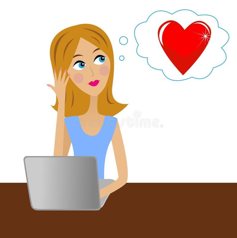 La giovane donna di affari pensa in ufficio ad amore illustrazione vettoriale