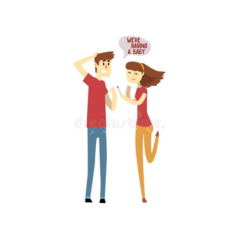 La giovane donna felice con un test di gravidanza positivo ed il suo fumetto sorpreso del marito vector l'illustrazione su un bia illustrazione di stock