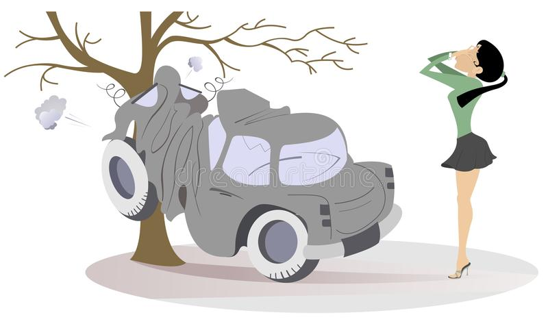 La giovane donna ha in un'illustrazione di incidente stradale illustrazione vettoriale