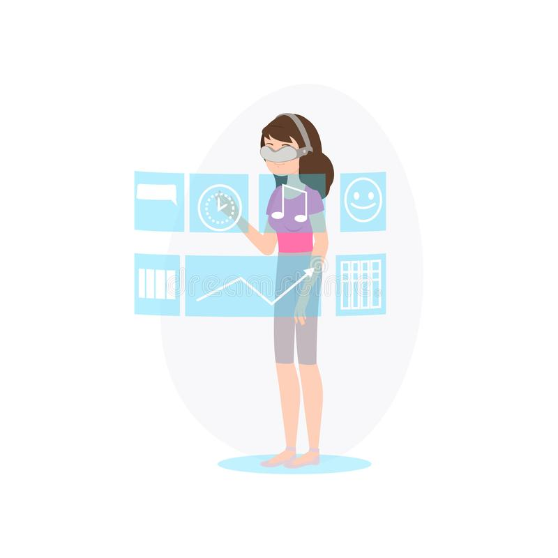 La giovane donna indossa i vetri di realtà virtuale per scegliere l'applicazione illustrazione vettoriale