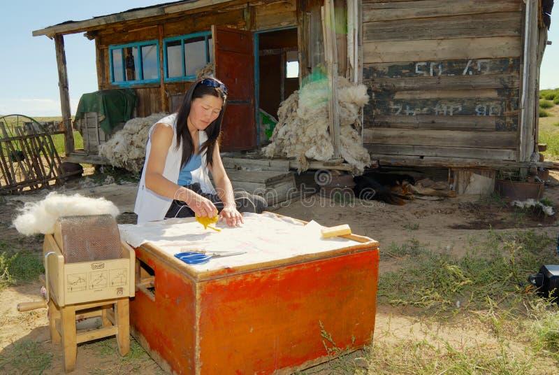 La giovane donna mongola lavora con feltro fuori di una casa in Harhorin, Mongolia fotografia stock