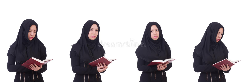 La giovane donna musulmana isolata su bianco fotografia stock