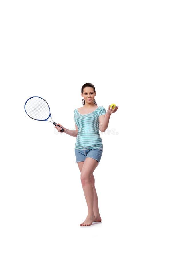 La giovane donna nel concetto di sport isolata sul bianco fotografie stock libere da diritti