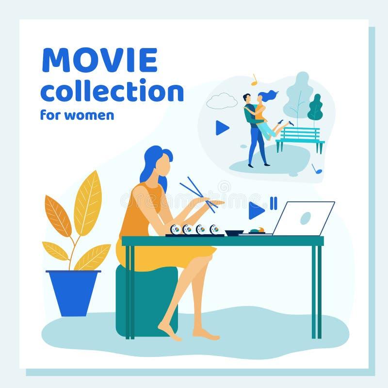 La giovane donna passa il tempo a casa che guarda il film illustrazione di stock