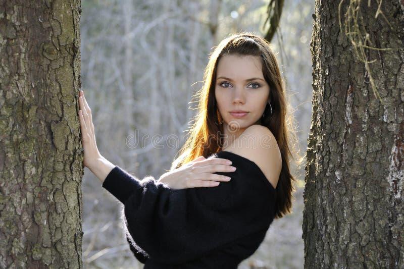 La giovane donna in sosta fra gli alberi fotografie stock libere da diritti