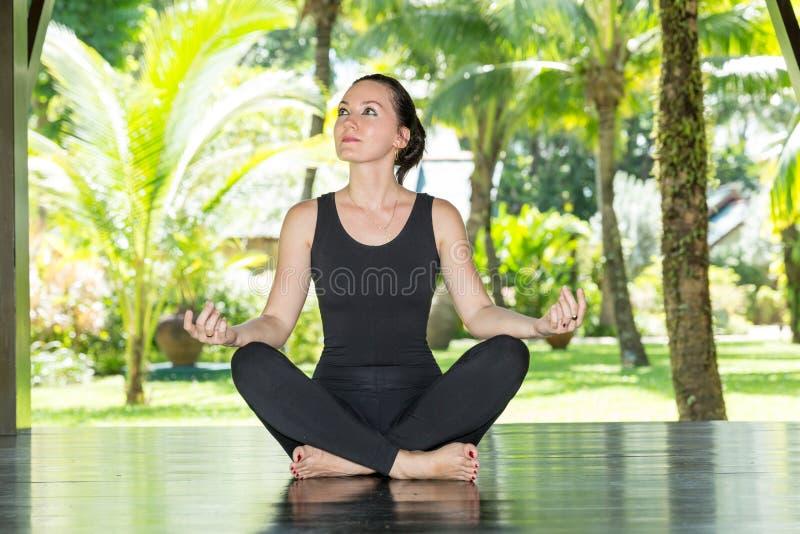 La giovane donna sta praticando l'yoga e i pilates sulla natura fotografie stock libere da diritti