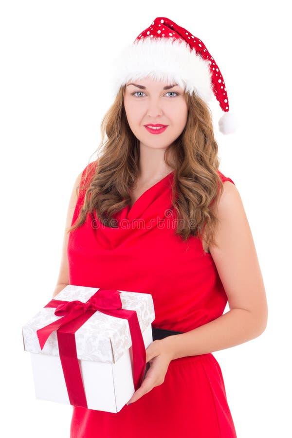 Giovane Donna In Vestito E Cappello Rossi Di Santa Natale ...