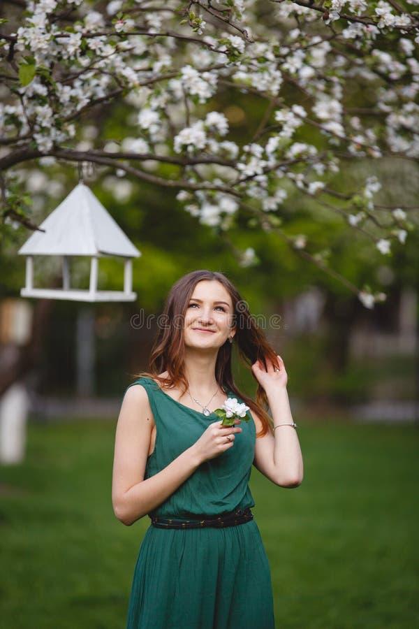La giovane donna weared in vestito da verde lungo in un giardino di fioritura della mela immagine stock