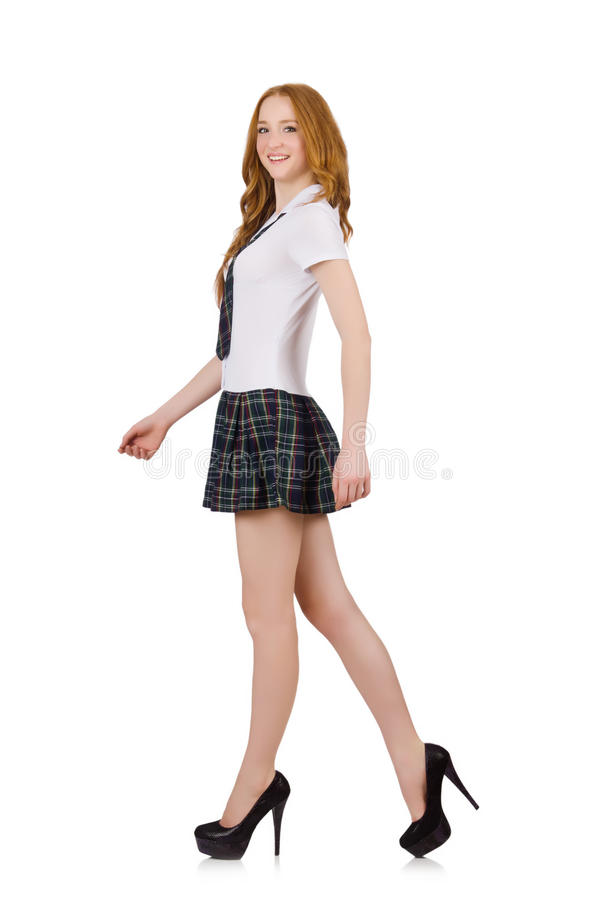 La giovane femmina di camminata dello studente isolata su bianco fotografia stock libera da diritti