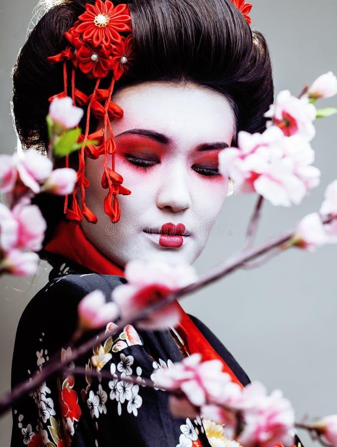 La giovane geisha graziosa in kimono con sakura e la decorazione rossa progettano su fondo bianco immagine stock libera da diritti