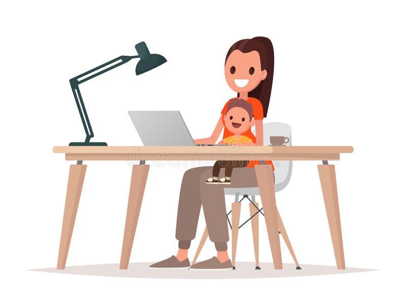 La giovane madre si siede con un bambino e lavora ad un computer portatile Free lance della madre, lavoro a distanza a casa ed al illustrazione vettoriale