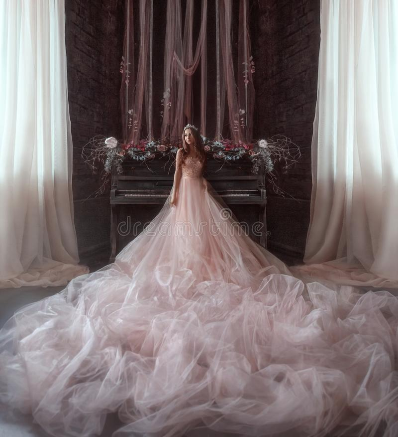La giovane principessa sta nella stanza gotica sui precedenti di piano molto vecchio La ragazza ha una corona e un lussuoso fotografia stock libera da diritti