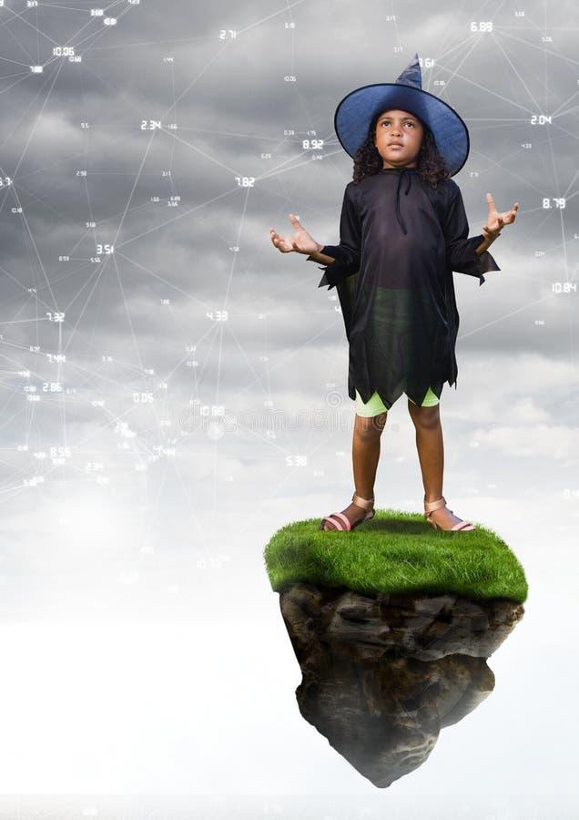 La giovane ragazza di Halloween della strega sulla piattaforma di galleggiamento della roccia in cielo con i connettori collega illustrazione di stock